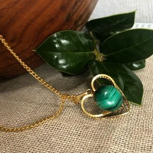 Vintage 12k GF Malachite Necklace